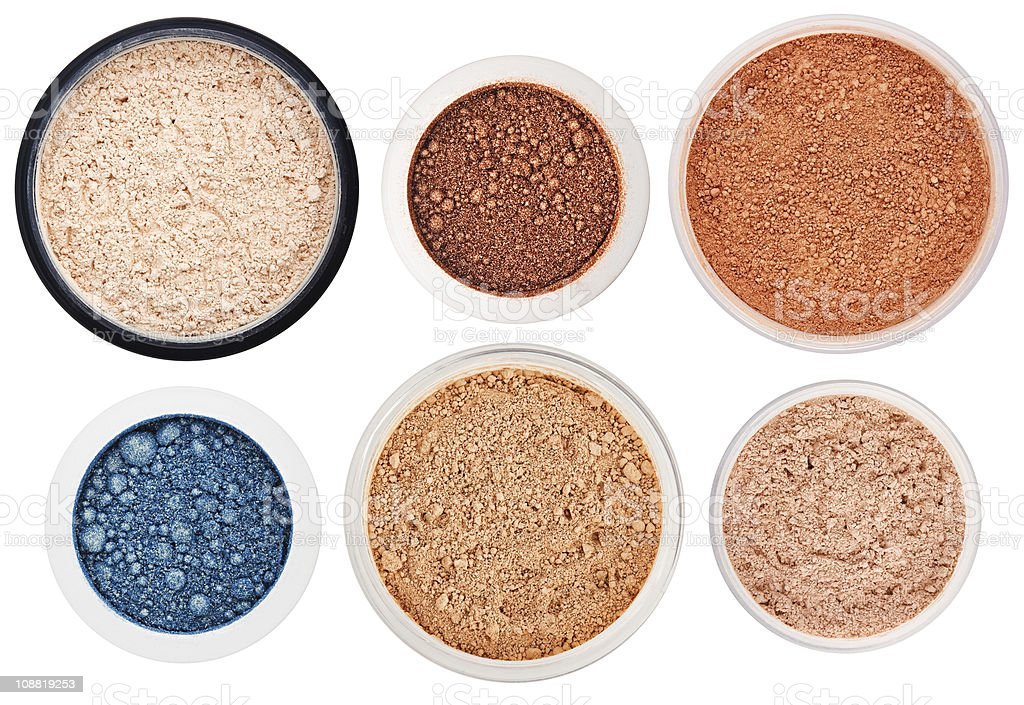 Set of 6 different rouge and eye shadow royalty-free stock photo