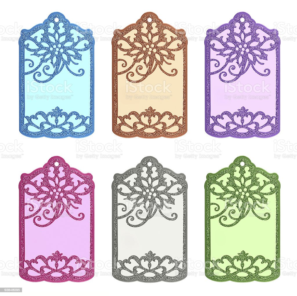 Set of 6 shopping tags. royalty-free stock photo
