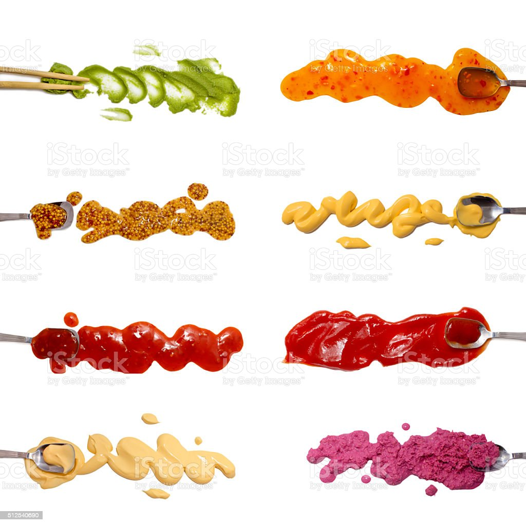 Set of 8 savory sauces and dips isolated on white stock photo
