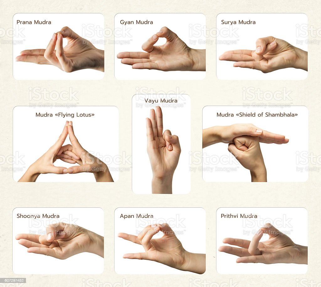 Set of 9 mudras stock photo