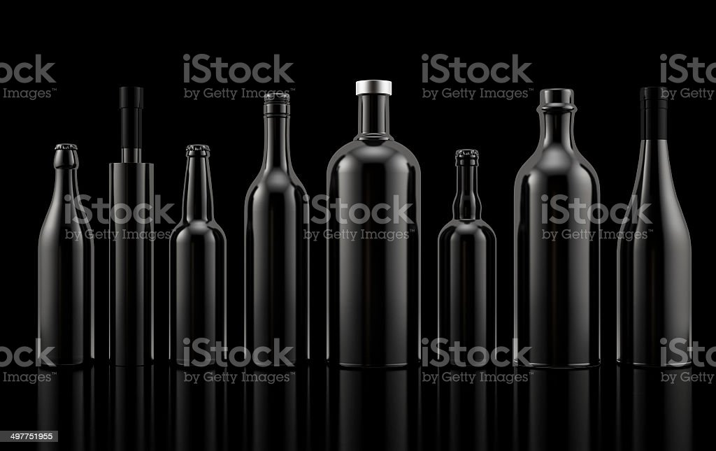 Set of alcohol bottles stock photo