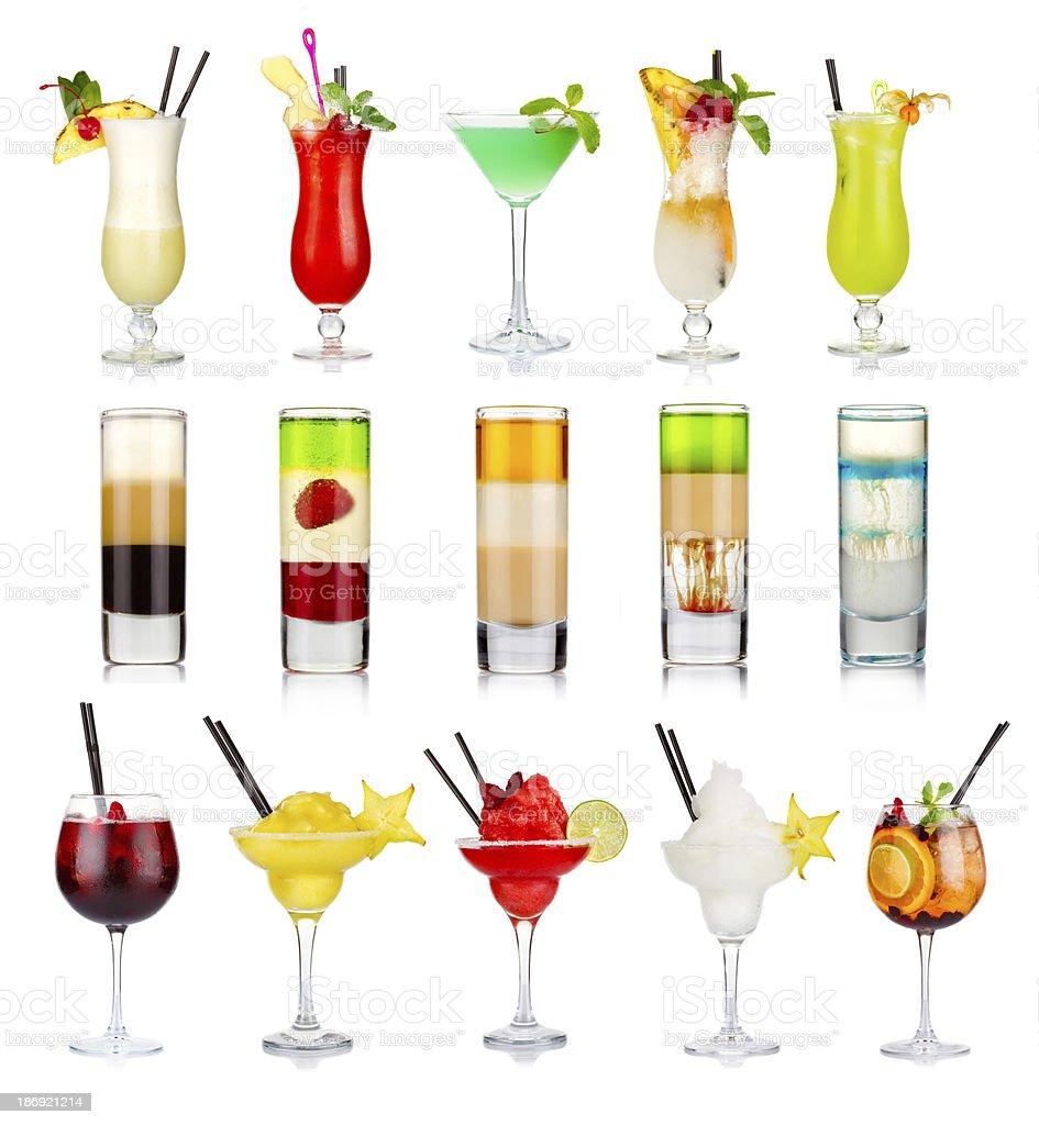 Set of alcoholic cocktails isolated on white stock photo