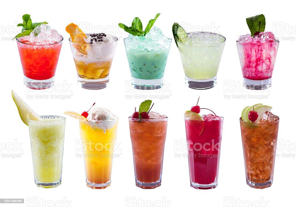 Set of alcoholic cocktails stock photo