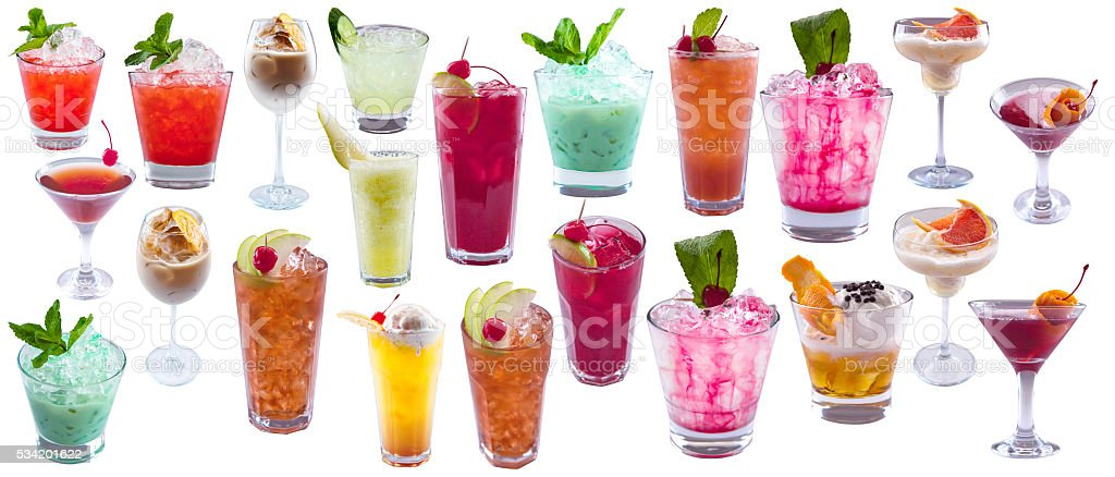 Set of alcoholic cocktails stock photo