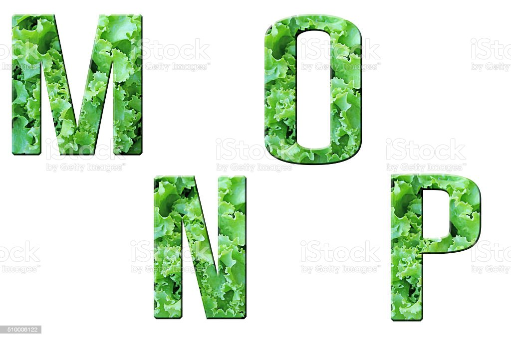 Set of Alphabet in vegetables texture on white background stock photo