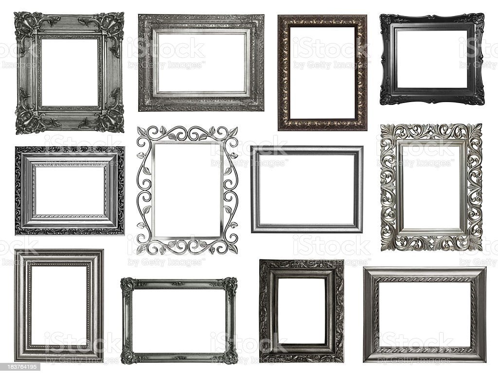 Set Of Antique Silver and Black Frames stock photo