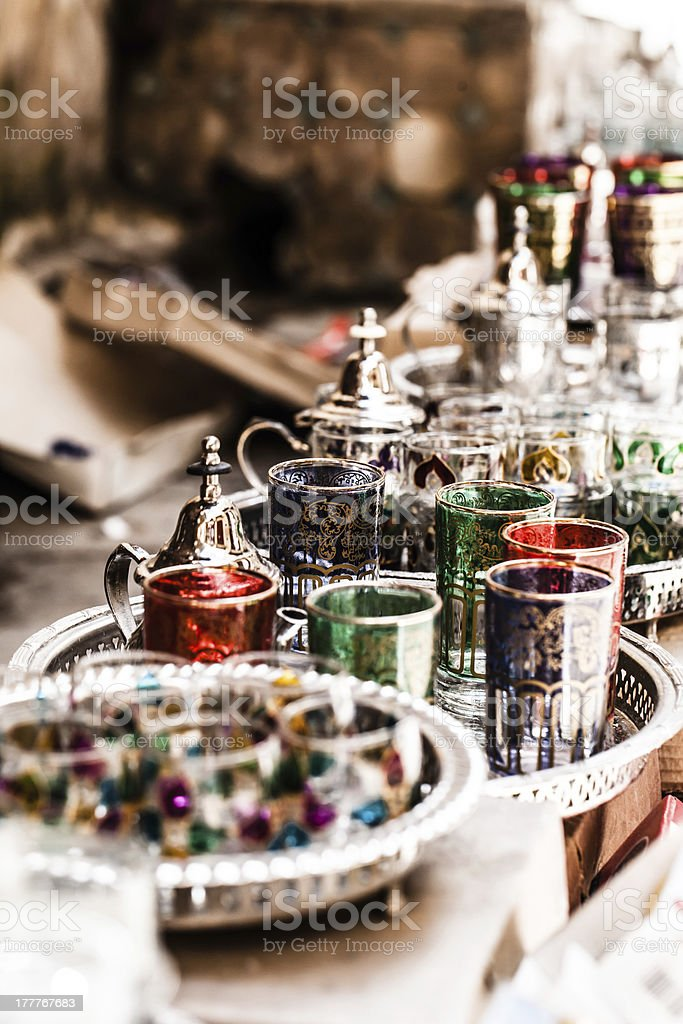 Set of Arabic nana mint tea with metal pot and fancy glasses stock photo