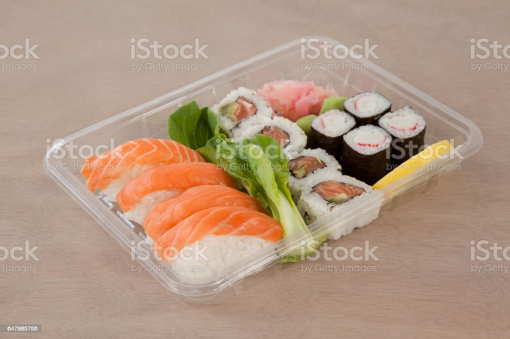 Set of assorted sushi kept in a plastic box royalty-free stock photo