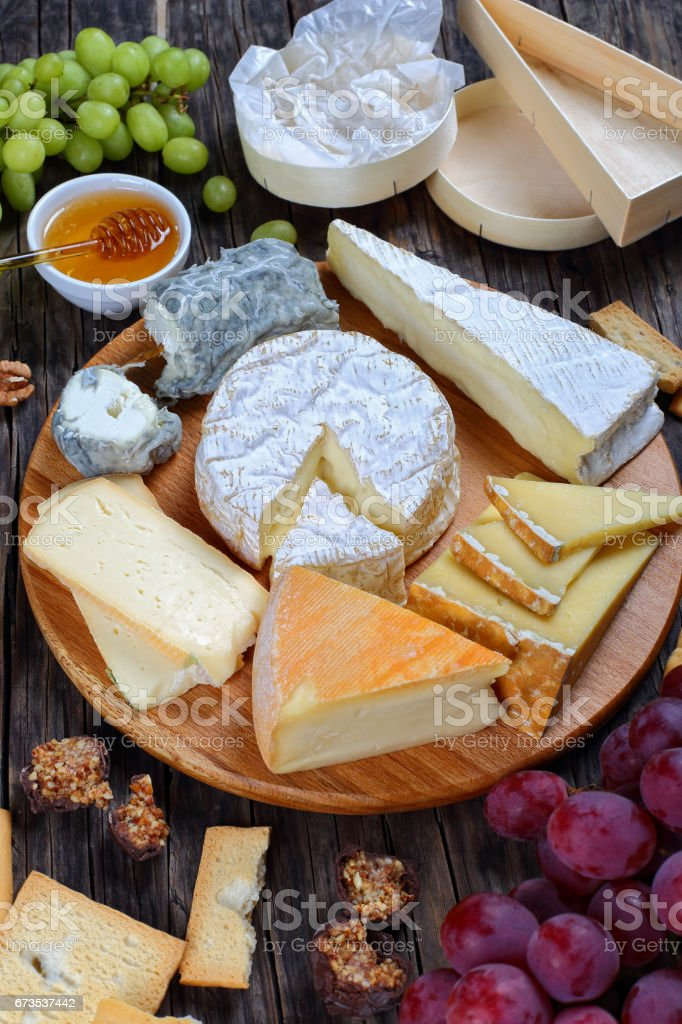 set of authentic french Cheese on plate stock photo