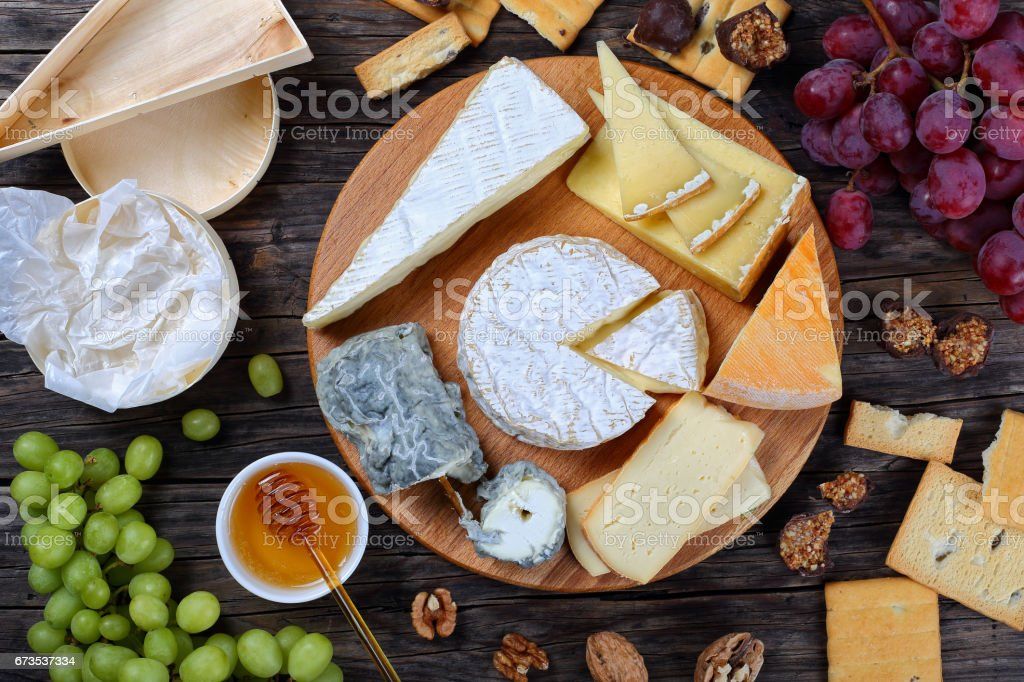 set of authentic french Cheese plate stock photo