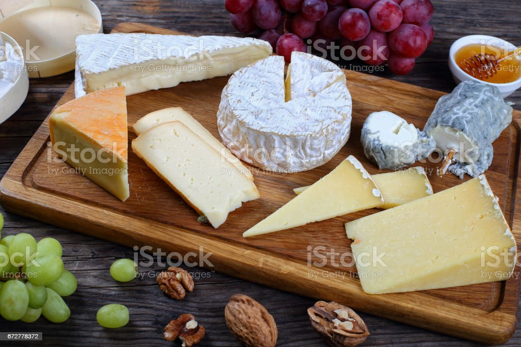 set of authentic french Cheeses, close-up stock photo