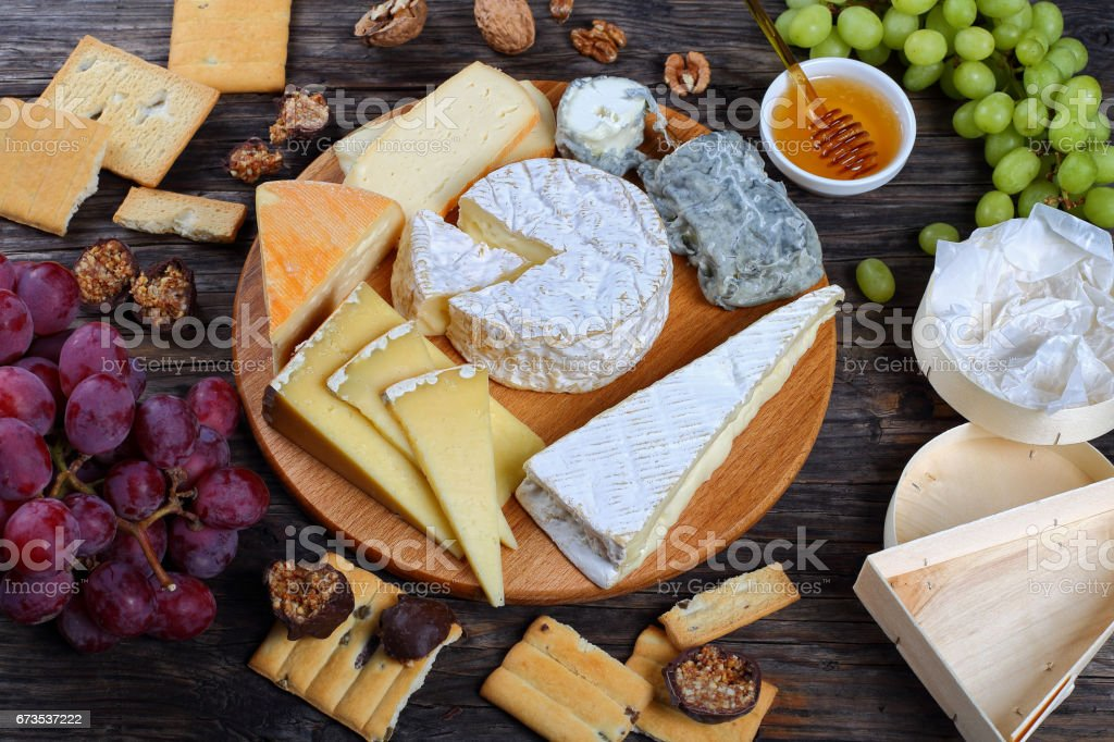 set of authentic french Cheeses, top view stock photo