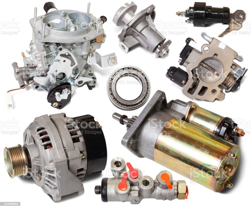 Set of auto spare parts stock photo