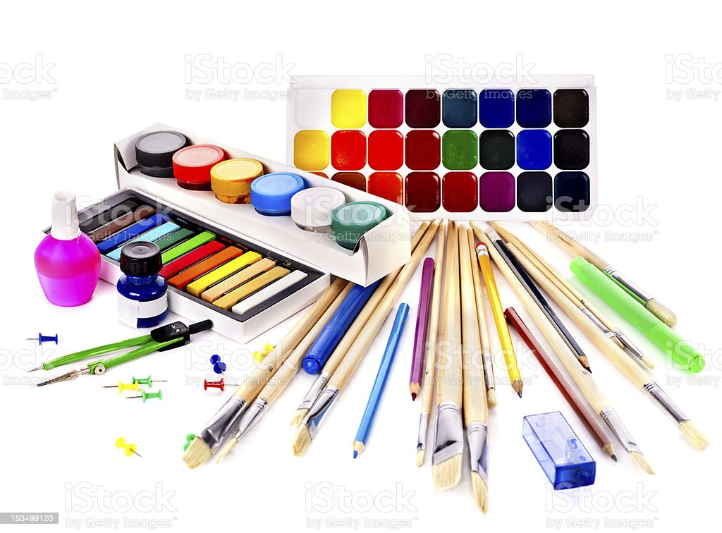 Set of back to school art supplies royalty-free stock photo