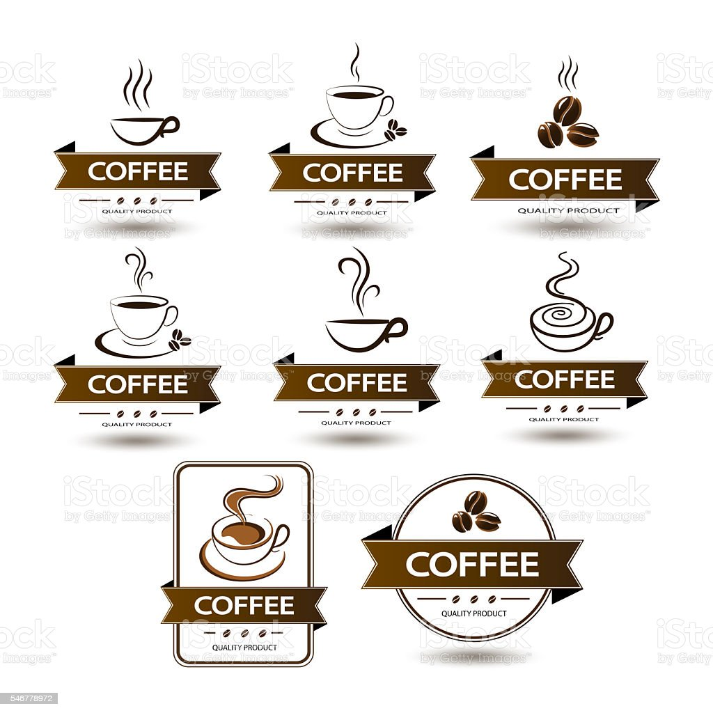 set of badges coffee cup drink stock photo