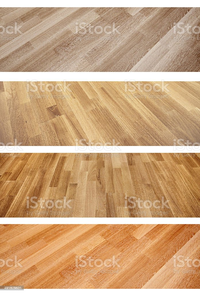 Set of banners with new oak parquet texture stock photo