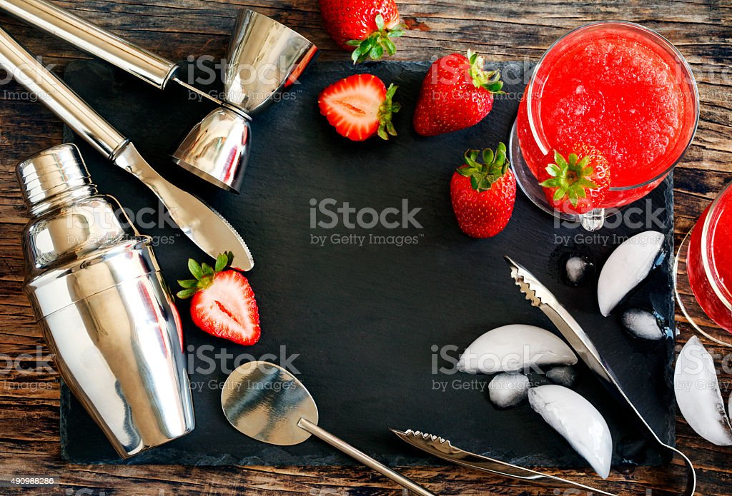 Set of bar accessories and ingredients for making a cocktails stock photo