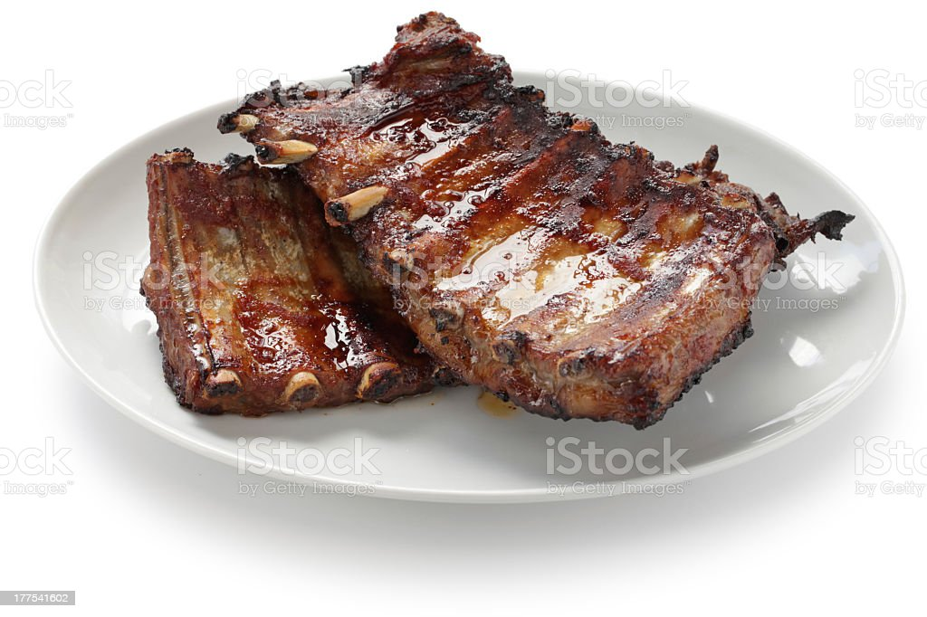 A set of barbecue pork spare ribs stock photo