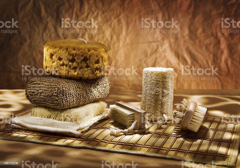set of bast and massager stock photo