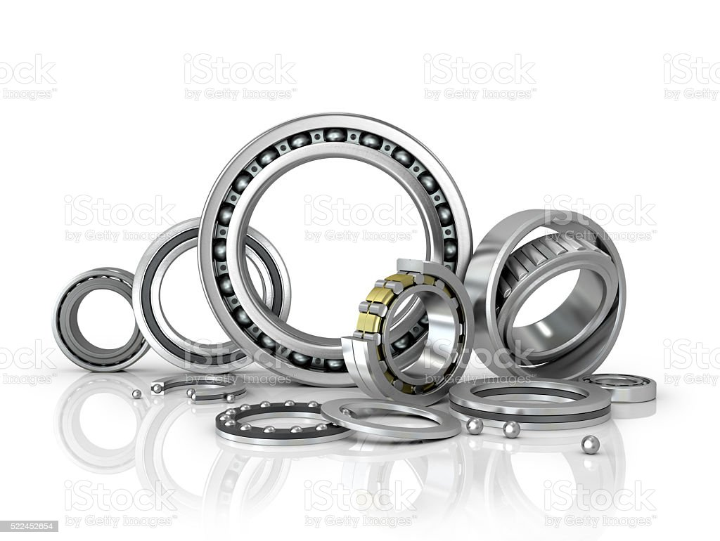 set of bearings on a white background. stock photo