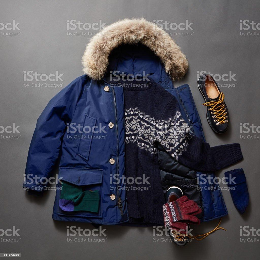 Set of beautiful winter male clothes stock photo