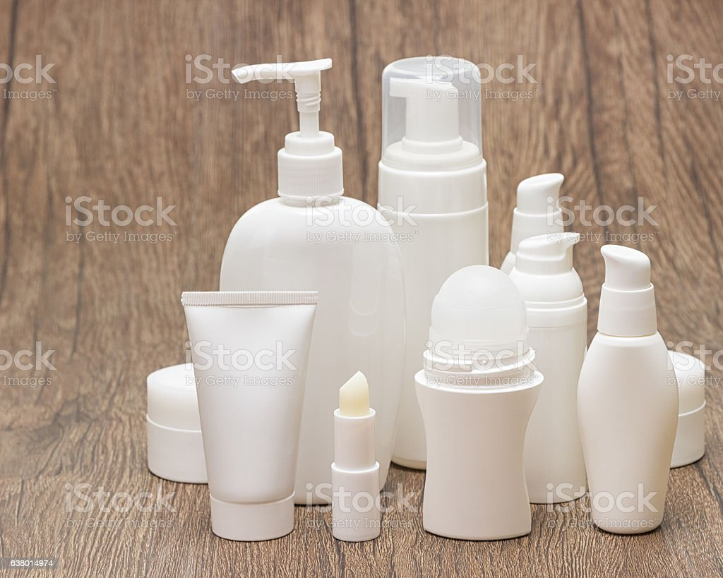 Set of beauty products with copy space stock photo