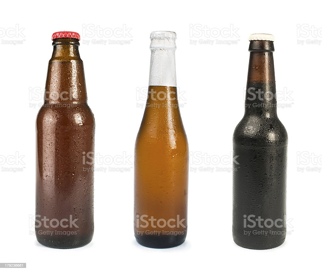 Set of Beer bottles isolated royalty-free stock photo