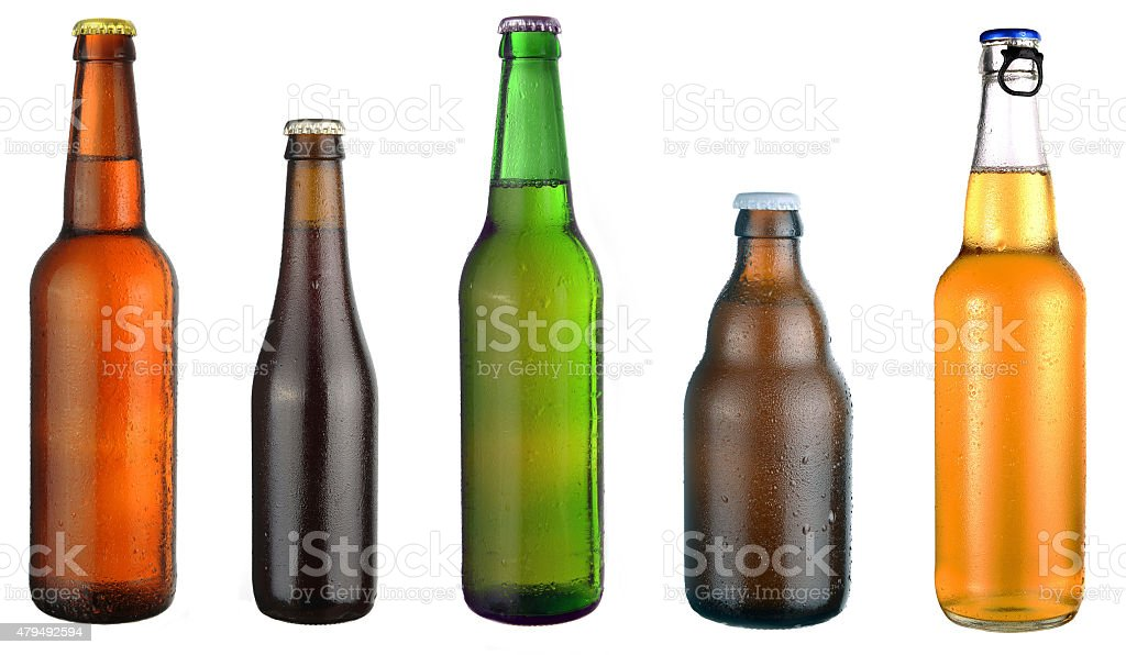 set of beer bottles stock photo