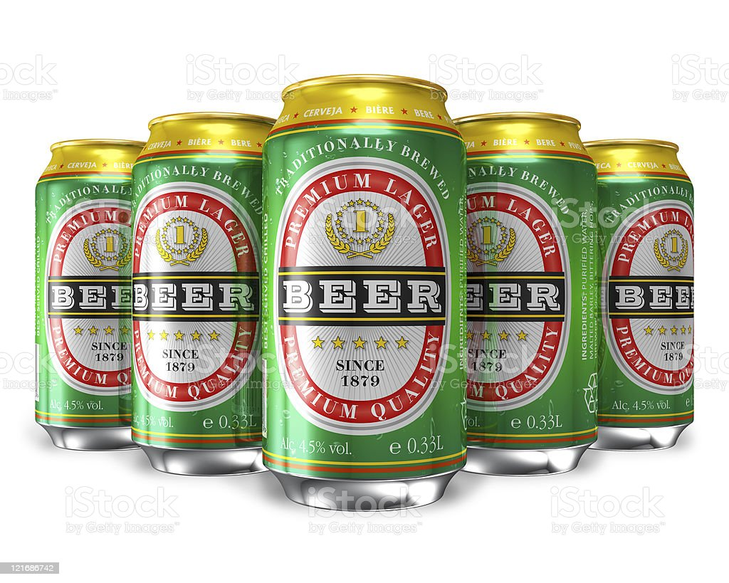 Set of beer cans stock photo
