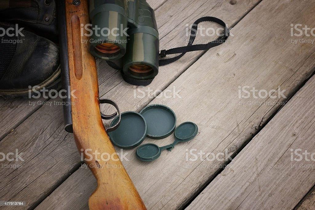 set of binoculars hunter shotgun skin stock photo
