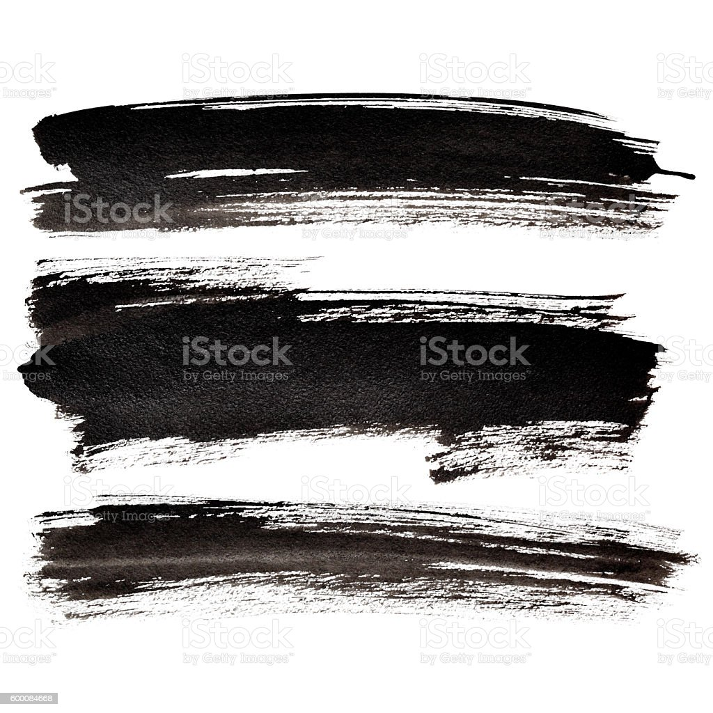 Set of black brush strokes stock photo
