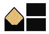 Set of black envelopes with golden texture inside, Mockup.