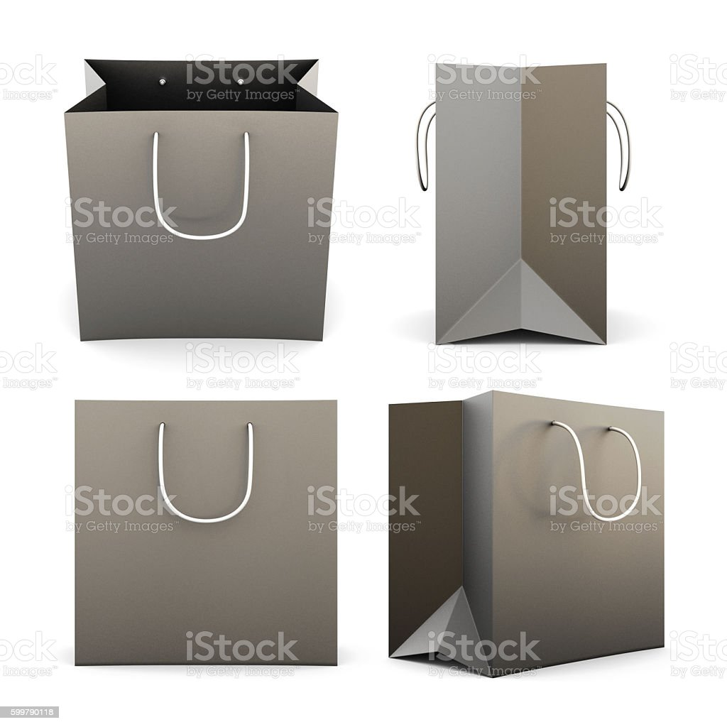 Set of black paper shopping bags from different angles. 3d. stock photo