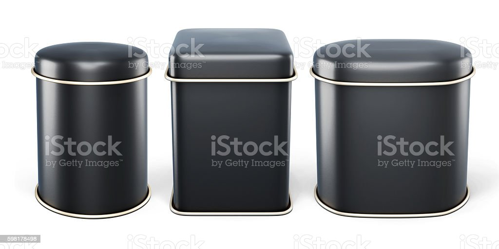 Set of black tin cans isolated on white background. stock photo