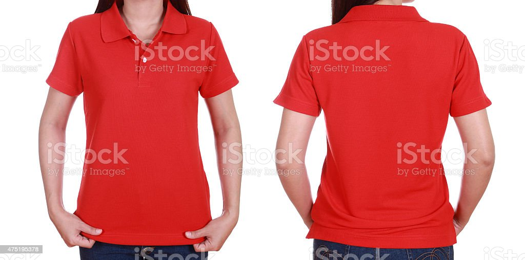 set of blank polo shirt (front, back) on woman stock photo