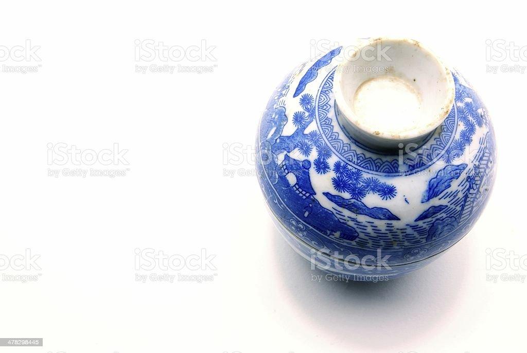 Set of blue chinaware porcelain royalty-free stock photo