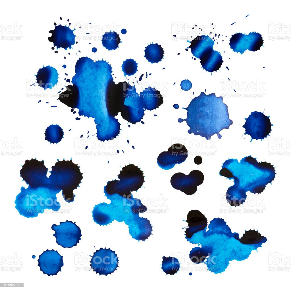 Set of blue ink stains and drops stock photo