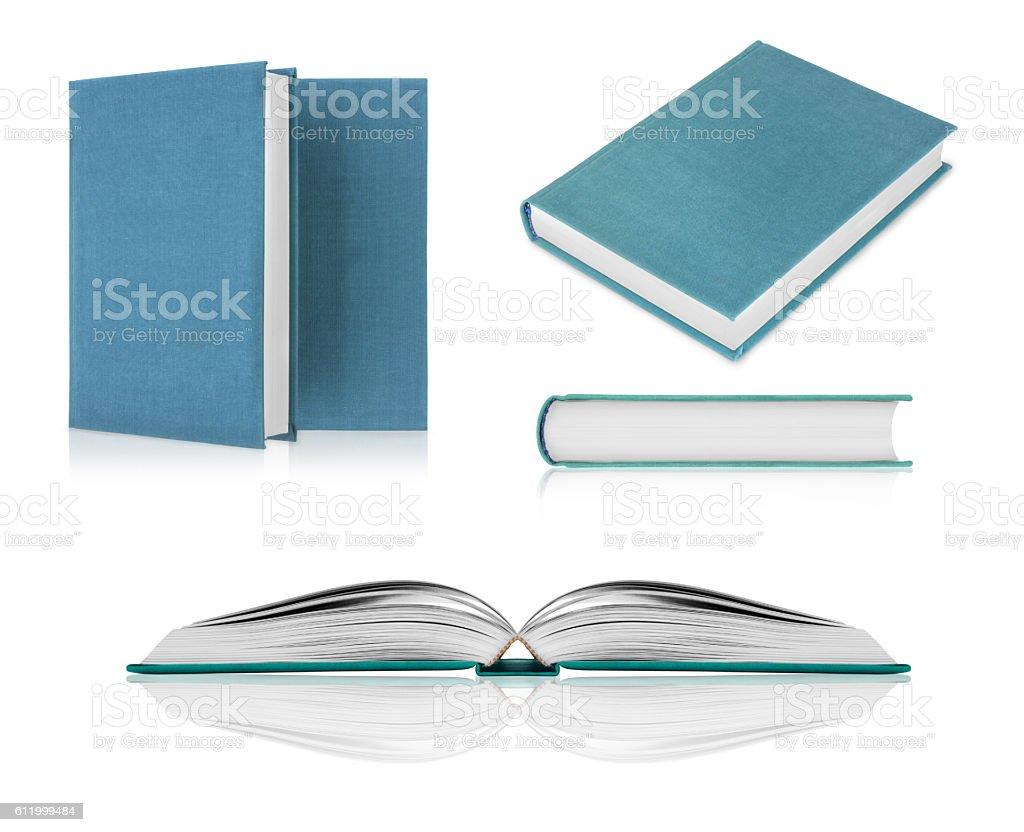 Set of books closeup isolated on white background stock photo