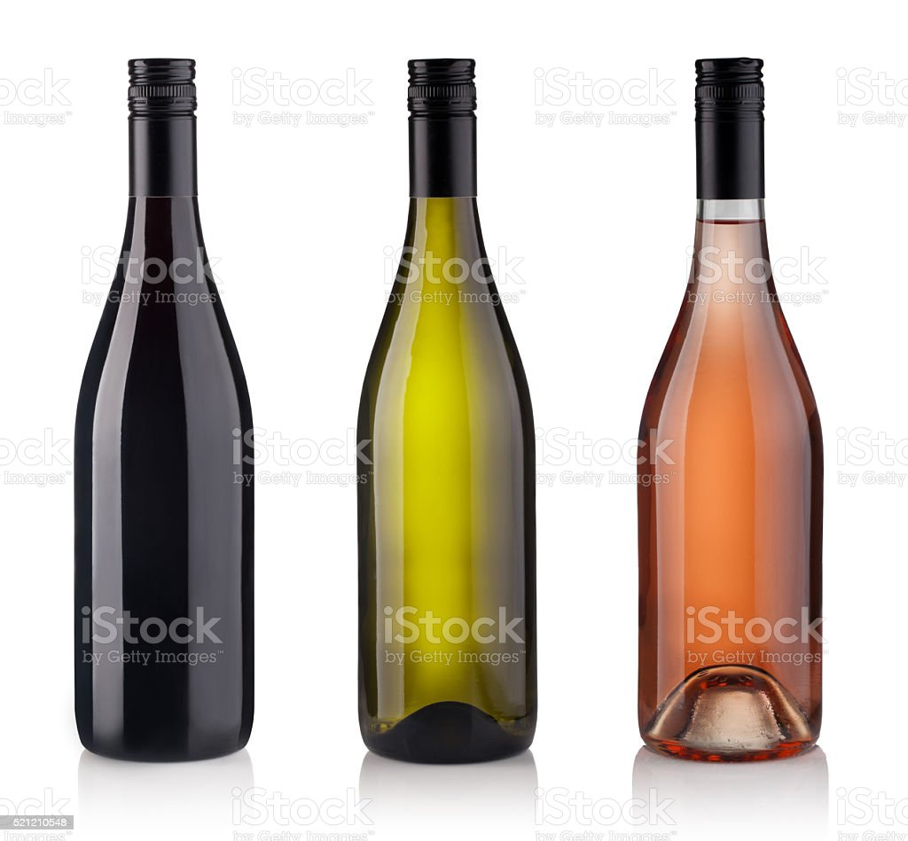 Set of Bottles isolated on white background stock photo