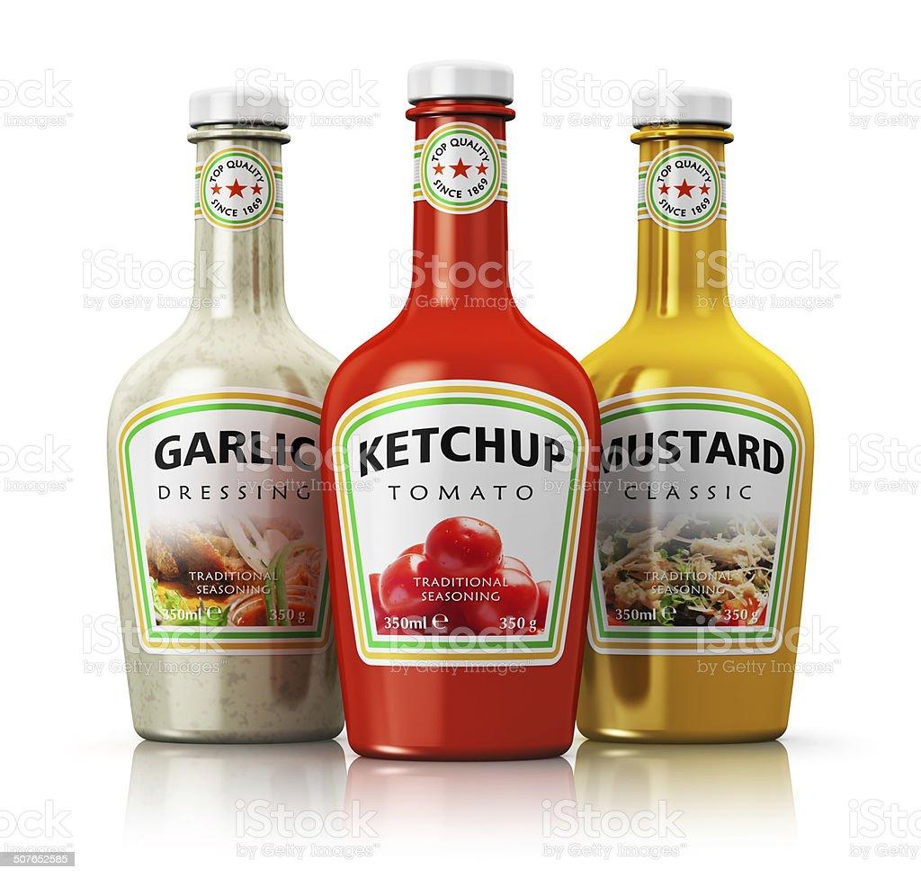Set of bottles with seasonings stock photo