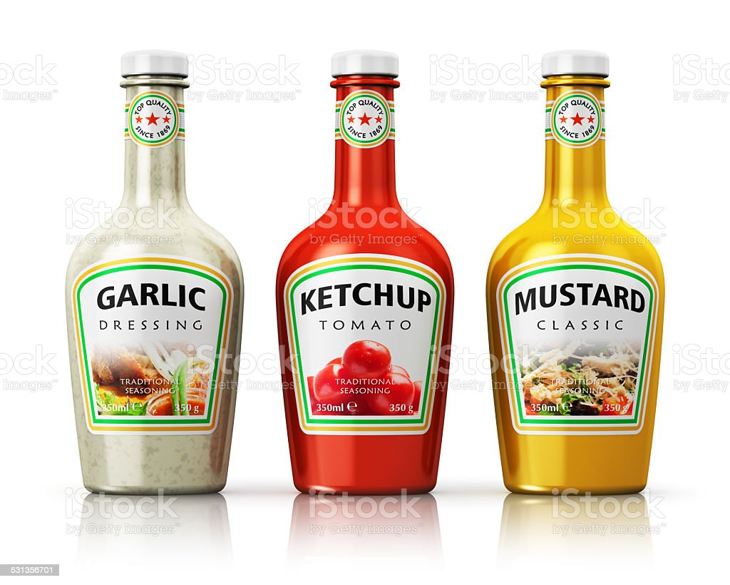 Set of bottles with seasonings stock photo