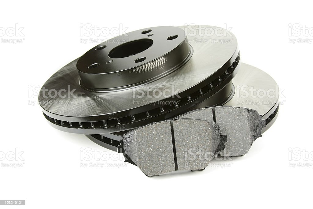 Set of brake discs and pads stock photo