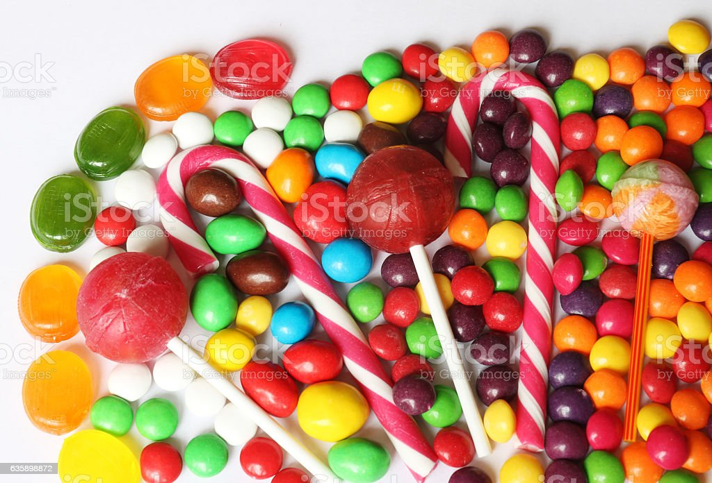 Set of bright assorted candies stock photo