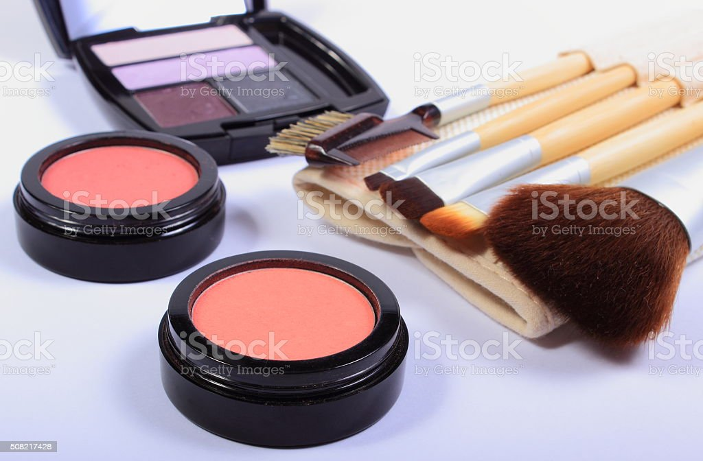 Set of brushes and cosmetics for makeup stock photo