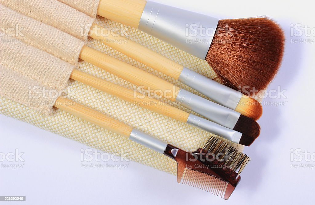 Set of brushes for makeup stock photo