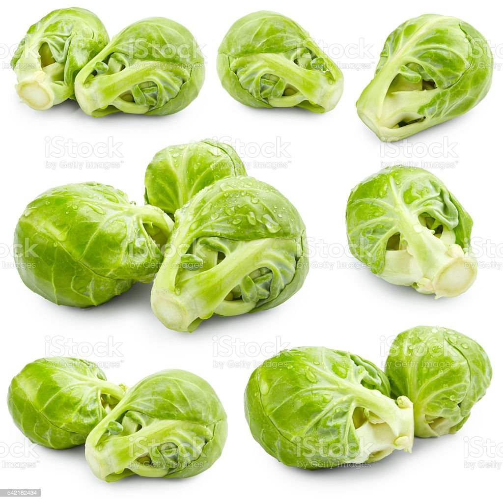 Set of brussels sprouts stock photo