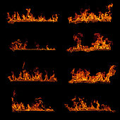 Set of burning fire flame elements isolated on black