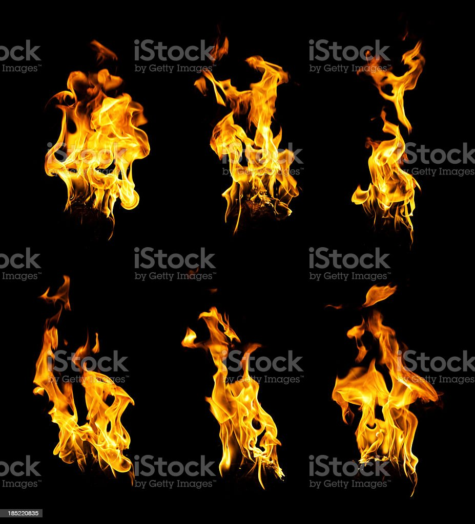 Set of burning hot fire flames isolated on black stock photo