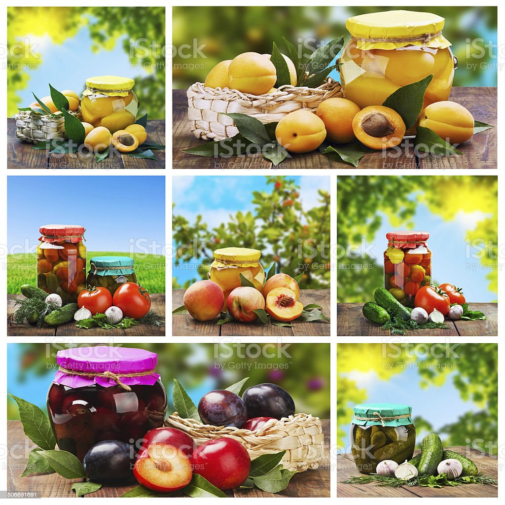 set of canned vegetables and fruits stock photo