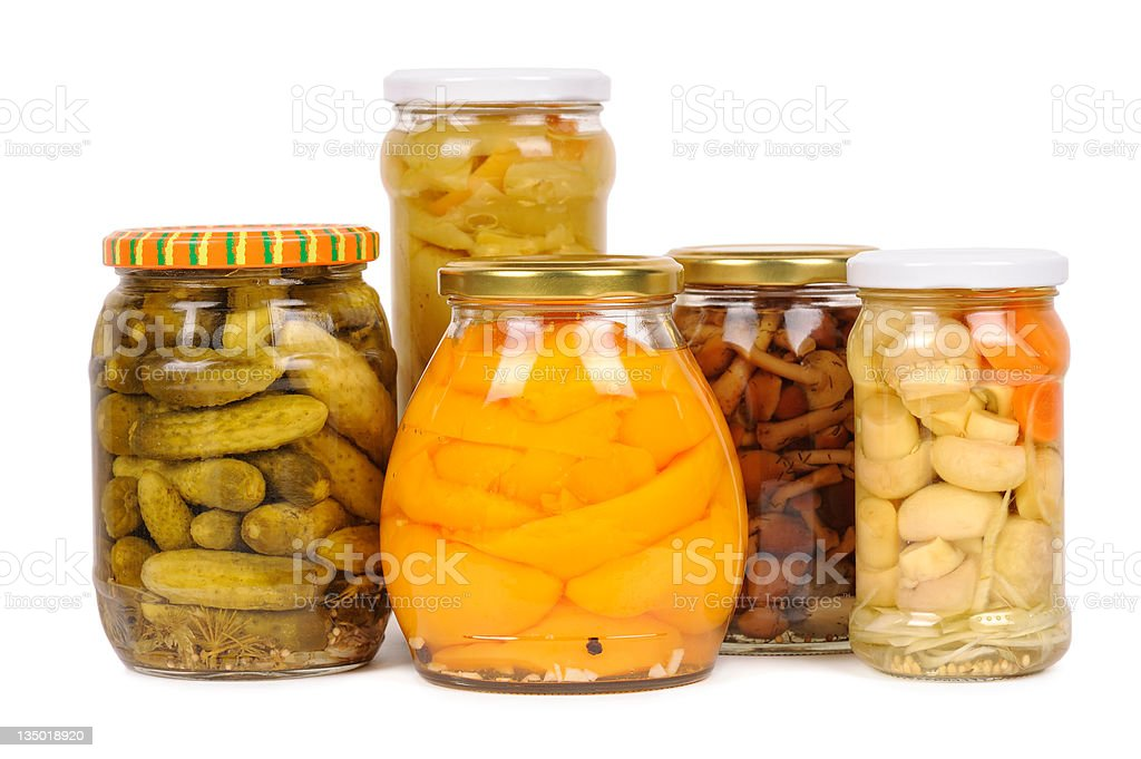 set of canned vegetables. cucumbers, peppers, mushrooms royalty-free stock photo